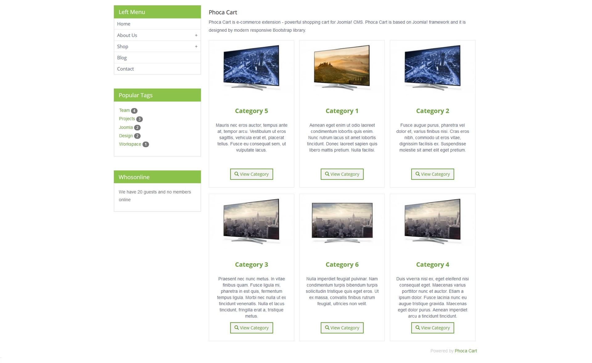 Phoca cart seznam kategorií