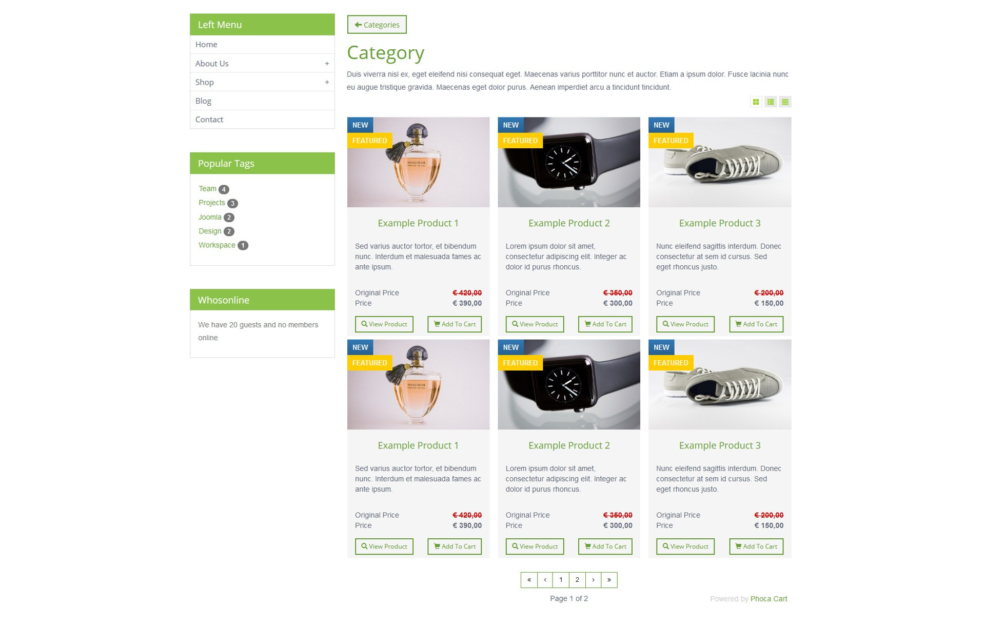 Phoca Cart seznam produktů